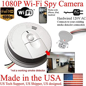 Amazon Com Secureguard 1080p Hd Smoke Detector Wifi Spy Camera