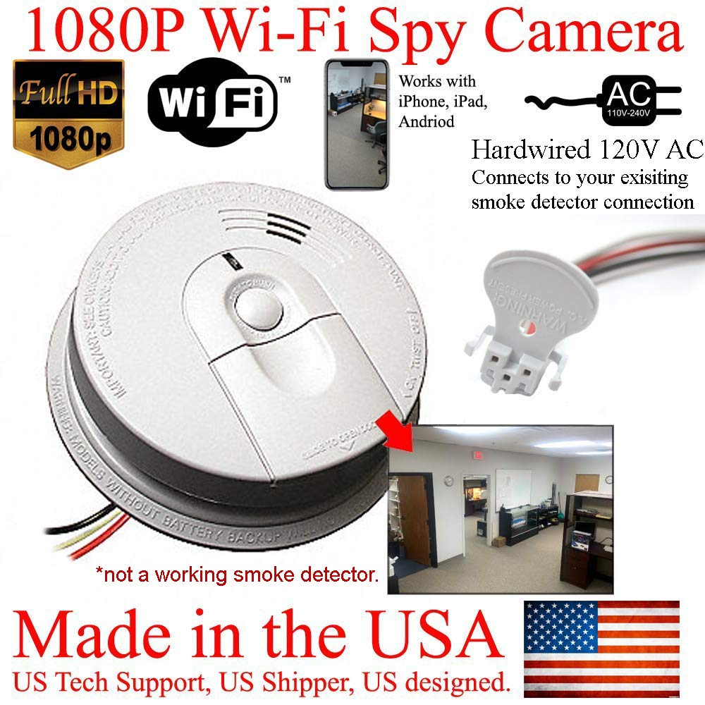 SecureGuard 1080P HD Smoke Detector WiFi Spy Camera Wireless IP Cloud P2P Wi-Fi Mobile Covert Hidden Nanny Cam Spy Camera Gadget (Replace Your existing Fire Alarm, 110V AC Quick Connector, See Pics)