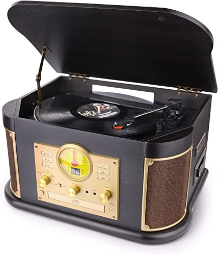 D L Vintage Record Player, Wooden Turntable, 7-in-1 Bluetooth Phonograph with Built-in Stereo Speakers, CD Cassette Player, FM Radio, USB SD Play Encoding,Turntable for Vinyl Records