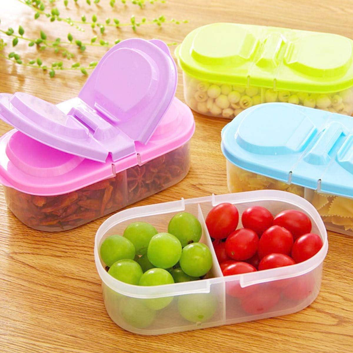 4pcs 2 Grid Reusable Plastic Food Storage Containers with Lids,Refrigerator Crisper Box Fresh Snacks Fruit Storage Box (Random Color)