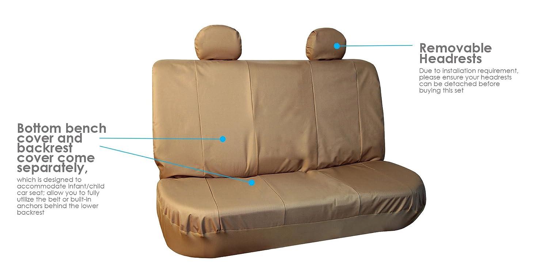 FH Group Black FB112BEIGEBLACK114 Beige Water Resistant Oxford Seat Cover Full Set