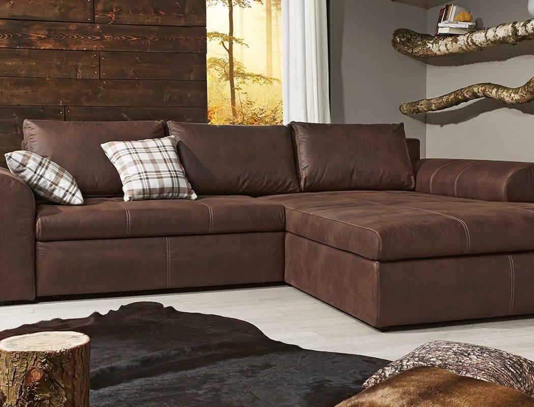 wohnlandschaft cassia 290x213cm braun antiklederoptik couch sofa ... - Wohnzimmer Sofa Braun