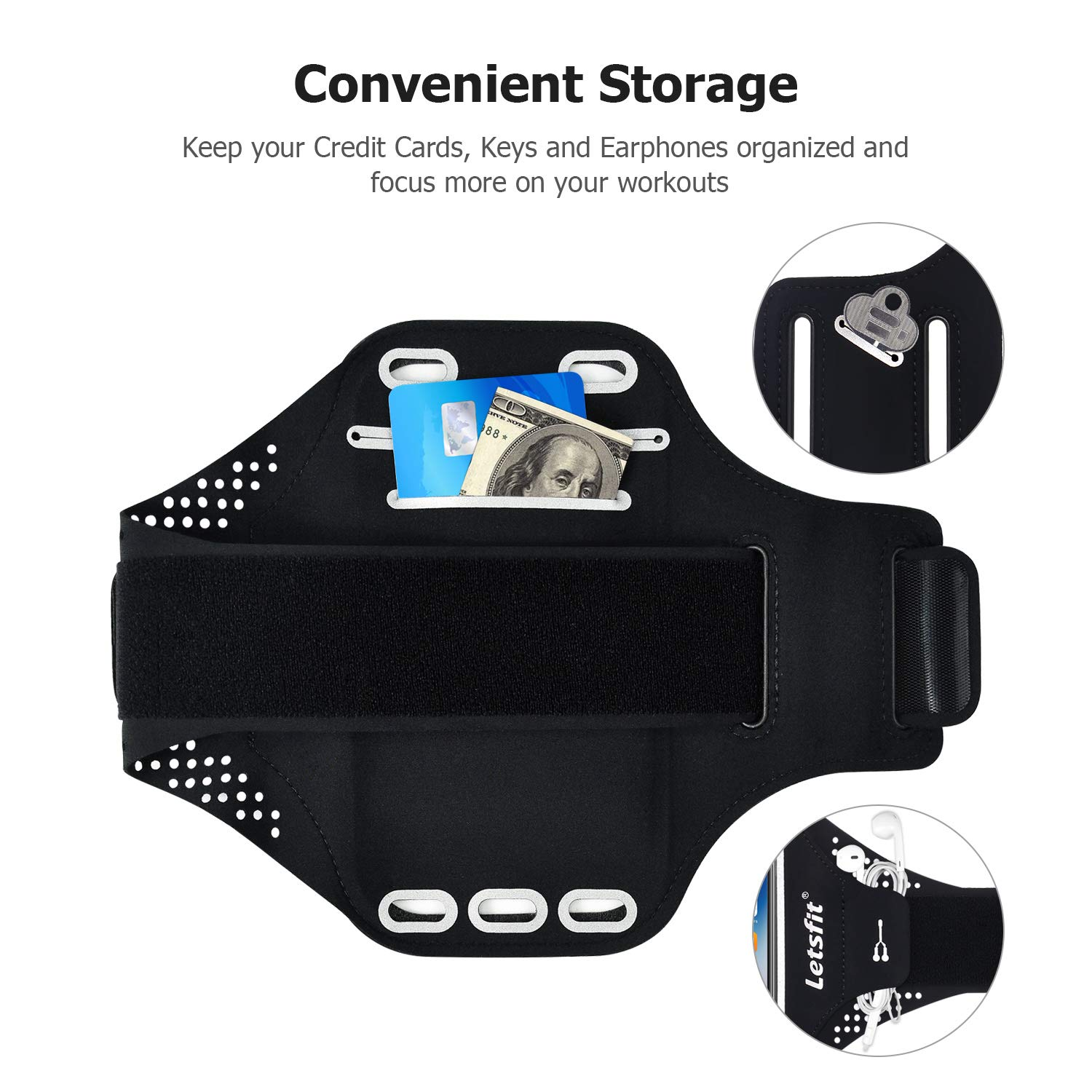 Letsfit Running Armband, Water Resistant Cell Phone Armband for iPhone Xs MAX XR 8 7 6s Plus Galaxy S10 S9 S8 S7 with Key Slot, Headphone Slot and Face ID for Running, Walking, Hiking, Black
