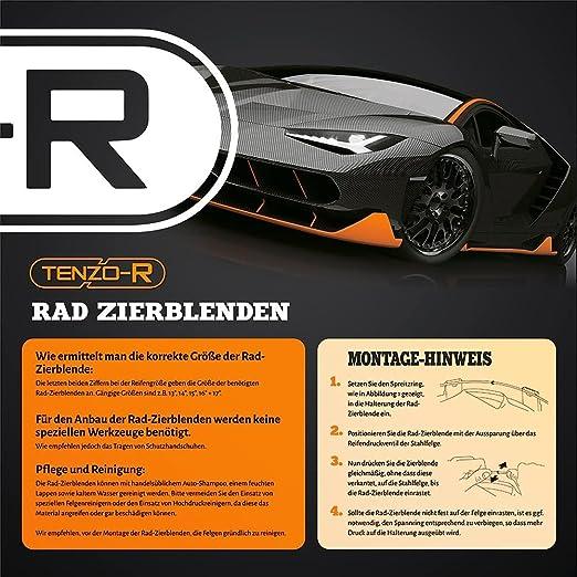 Carparts Online 28751 Radkappen Radzierblenden Für Stahlfelgen Set Tenzo R Ii 14 Zoll Silber Grün Auto