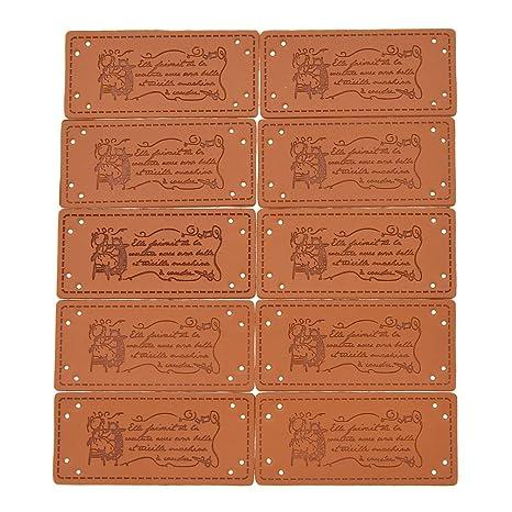 Kesheng - 50 etiquetas de piel sintética hechas a mano con adornos en relieve con agujeros para coser crochet manualidades, ropa para tejer álbumes de ...