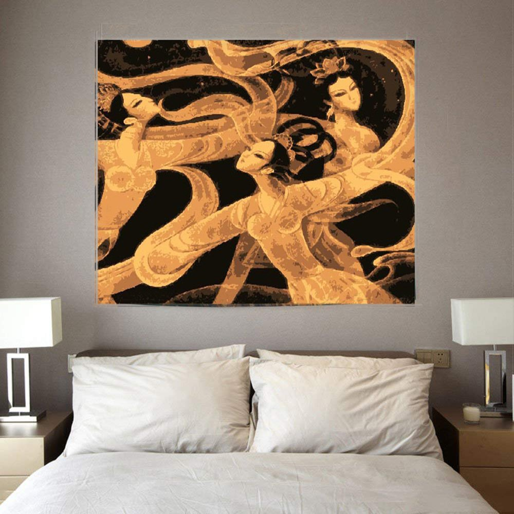 TSDA Chinese Tang Dynasty Classical Dance Art Culture Black and White Tapestry,National Wind Tapestry Living Room Bedroom Office Wall Hanging Tapestry (79'' L X 59'' H)