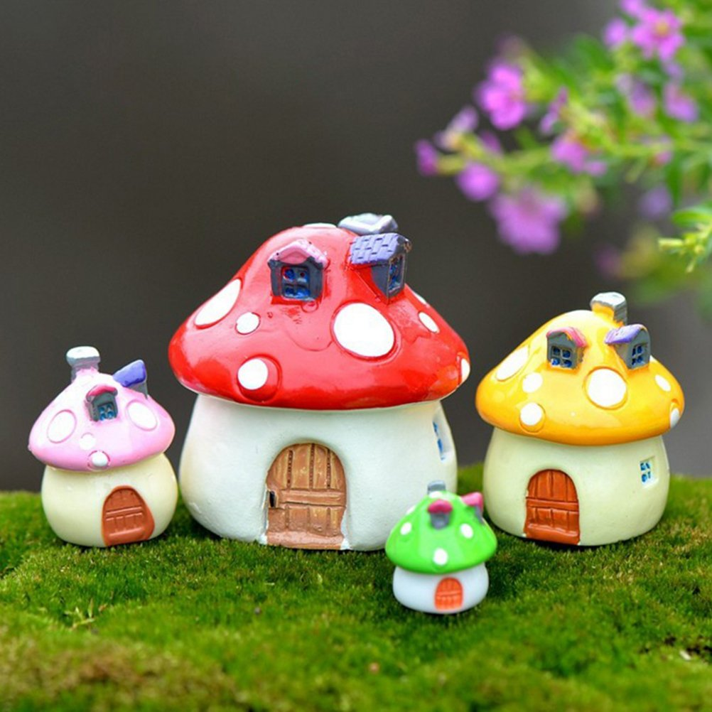 4 Pcs Resin Mushroom Houses Miniature Fairy Garden Decoration Statue Home Outdoor Decor Ornaments maryy call me