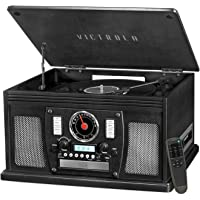 Victrola Navigator 8-in-1 Bluetooth Record Player & Multimedia Center with Built-in Stereo Speakers - 3-Speed Turntable, Vinyl to MP3 Recording | Wireless Music Streaming | Black