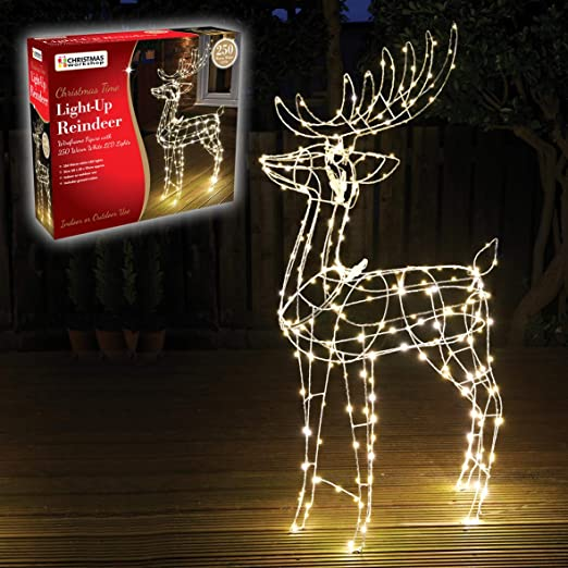 The Christmas Workshop 70409 Light Up Reindeer Decoration 115cm Tall Wireframe Figure With 250 Warm Led S White