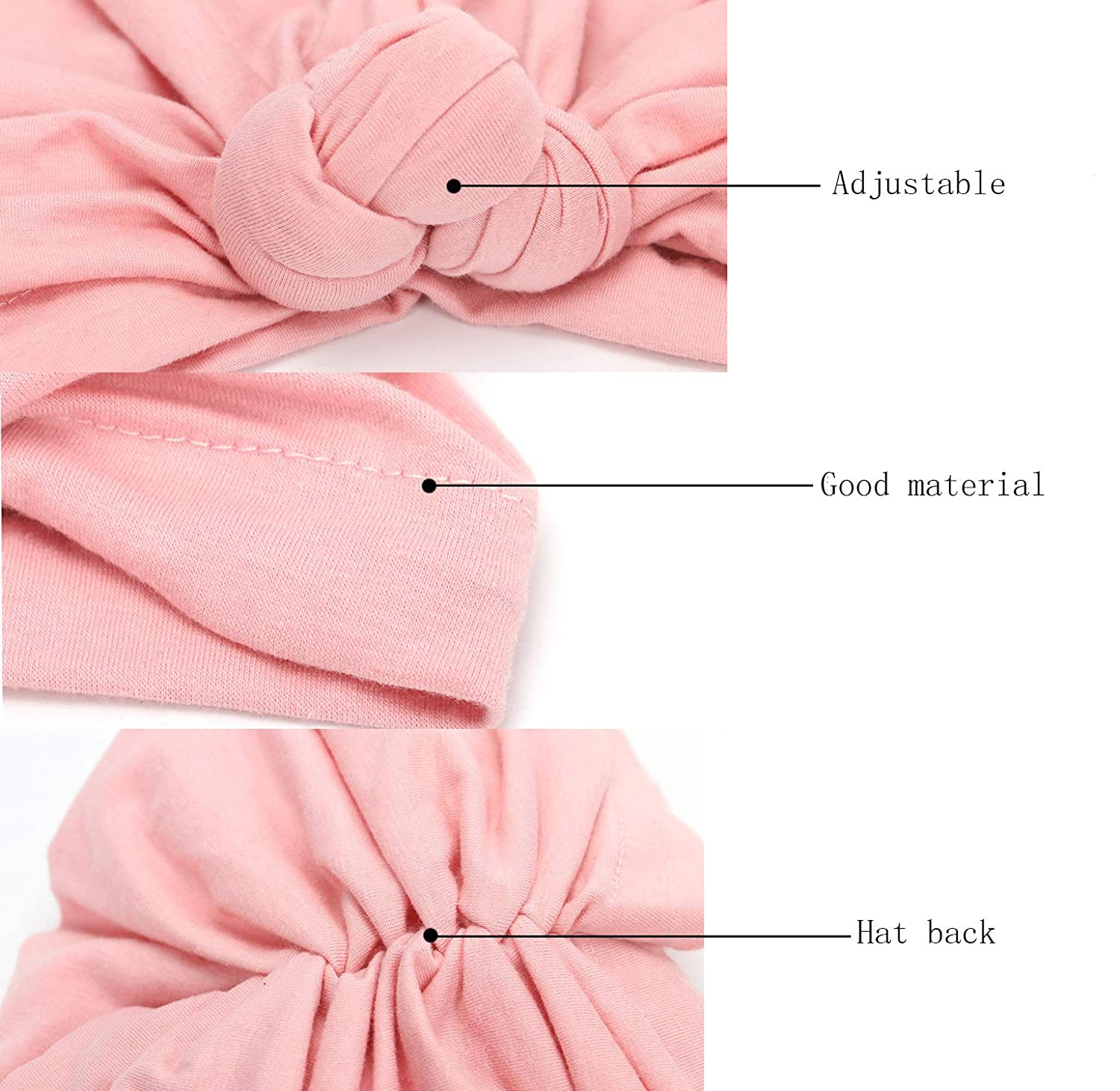 CaJaCa Newborn Baby Toddler Cotton Hat Baby Girl Knotted Hat Cute Donut Soft Turban Bow Cap Set