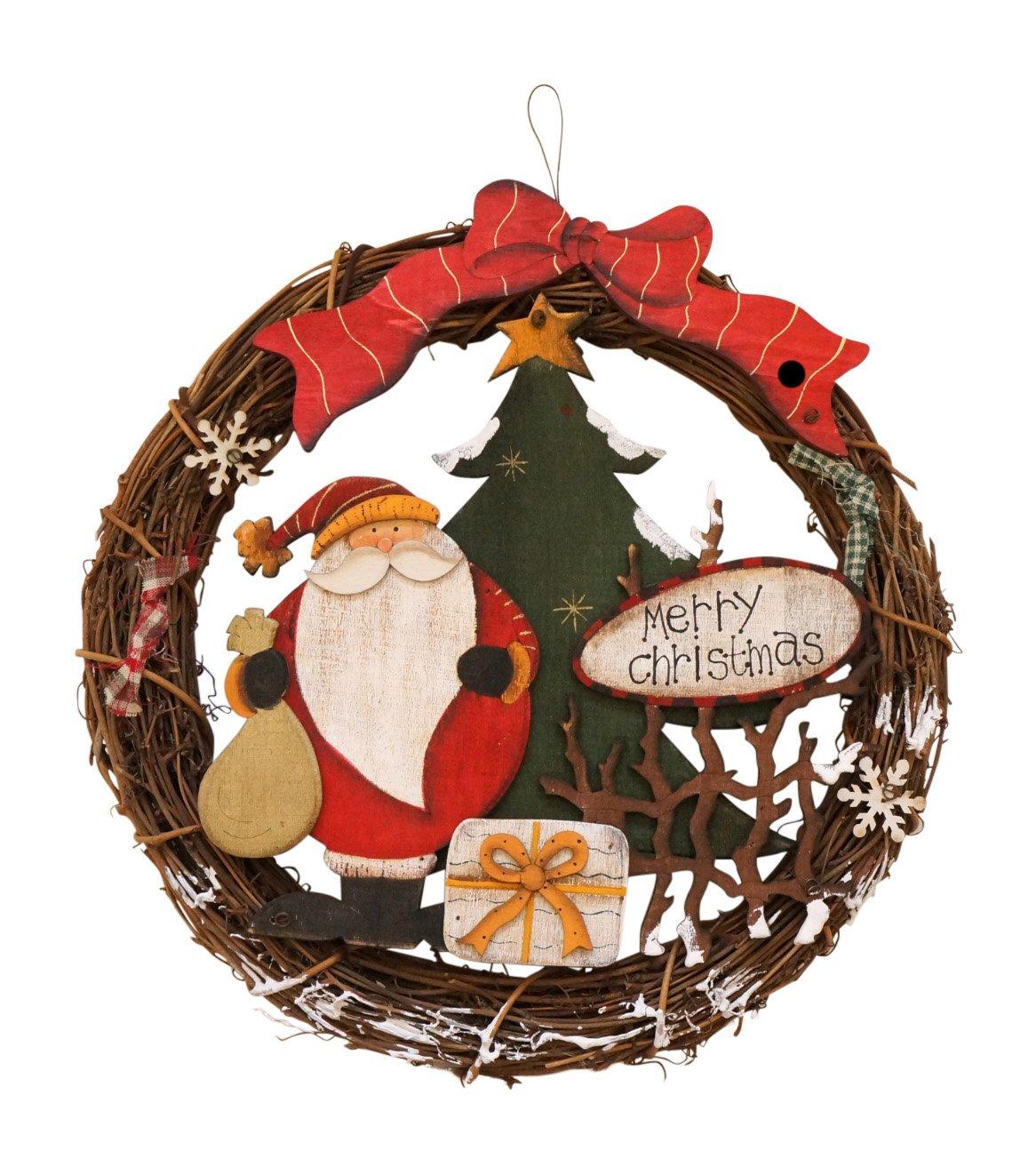 Charming Santa and Snowman Wooden Wreaths Holiday Decoration (Santa)
