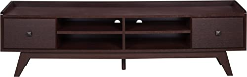 Furniture of America Ione Mid-Century Modern Open Shelves, 2 Drawer Storage, Raised Edge Top, Tapered Legs TV Stand, 72 , Espresso