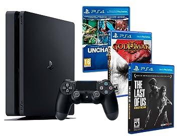 7d4f76833e512 Playstation 4 Consola PS4 Slim 1Tb + 5 Juegos - The Last of us + God of war  3 + Uncharted Nathan Drake Collection  Sony  Amazon.es  Videojuegos