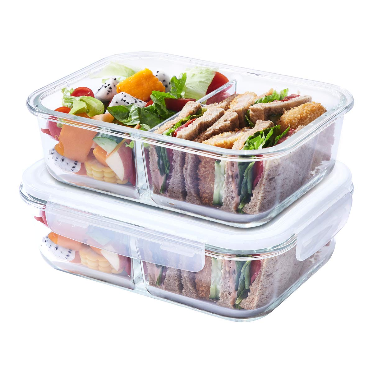 EASYLOCK 2 Compartment Meal Prep Glass Food Storage Containers with Locking Lids, BPA Free, Airtight Lunch Box, 33.8oz GHG031R-1