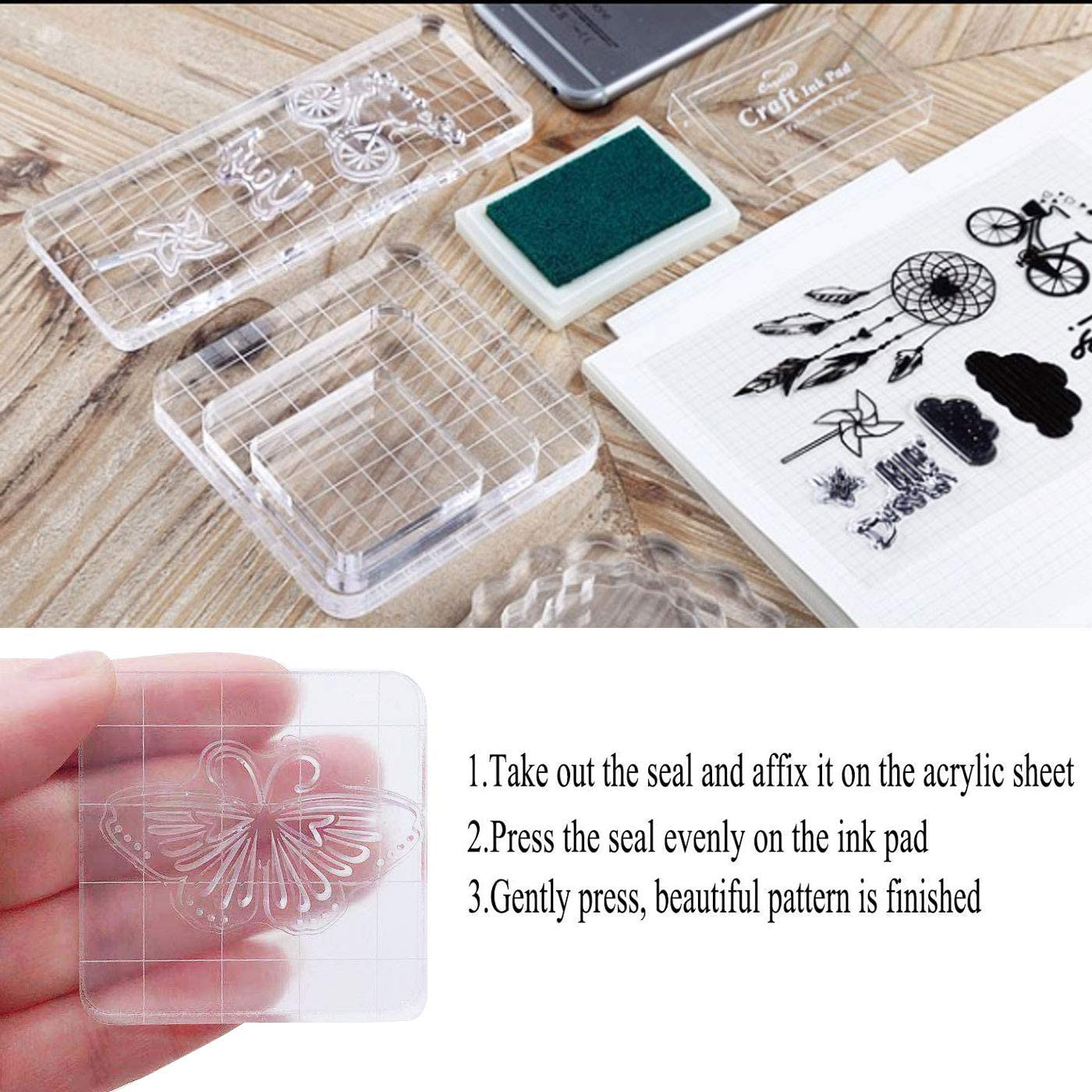 Markeny 6 Pieces Acrylic Stamp Block Clear Stamping Tools Set with Grid Lines for Scrapbooking Crafts Card Making 6 Sizes