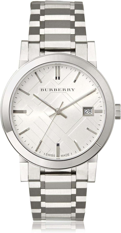 BURBERRY BU9000 - Reloj de Pulsera Hombre, Acero Inoxidable, Color Plata