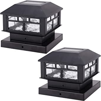 POWGDLT Solar Post Cap Lights Outdoor 10 Lumen Double LED Fence Post Solar Powered Waterproof Light for 4x4 or 5x5 Wood Posts in Patio, Deck or Garden Decoration, 2 Pack
