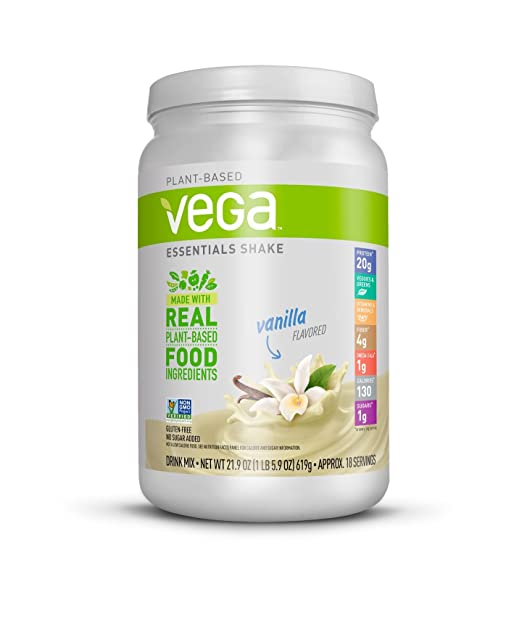 Vega Essentials Shake Vanilla (18 Servings, 21.9 Ounce) - Plant Based Vegan Protein Powder, Non Dairy, Keto-Friendly, Gluten Free, Smooth and Creamy, Non GMO best vegan protein powder