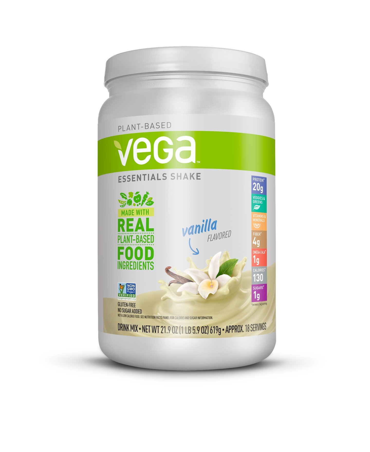 Vega Essentials Shake Vanilla (18 Servings, 21.9 Ounce) - Plant Based Vegan Protein Powder, Non Dairy, Gluten Free, Smooth and Creamy, Non GMO