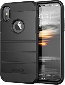 iPhone Xs Case, iPhone X Case, Crave Strong Guard Protection Series Case for Apple iPhone X/XS (5.8 Inch) - Black