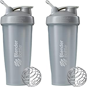 BlenderBottle Blender Classic Loop Top Shaker Bottle, 28-Ounce 2-Pack, Pebble Grey