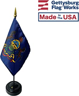 product image for 4x6 E-Gloss Pennsylvania Stick Flag with Plastic Table Base - Qty 24