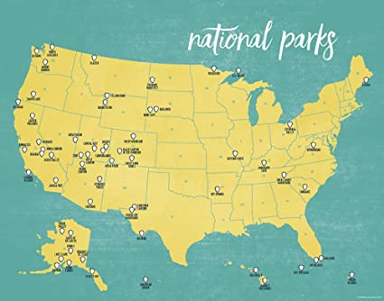 Amazon.com: Best Maps Ever US National Parks Map 11x14 Print (Yellow ...