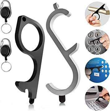 No Touch Tool 2 Set No Touch Door Opener with Bottle Opener and Retractable EDC Keychain Tool Keep Hands Clean Contactless Door Opener with Touch Screen Stylus for Outdoor Public Elevator Button