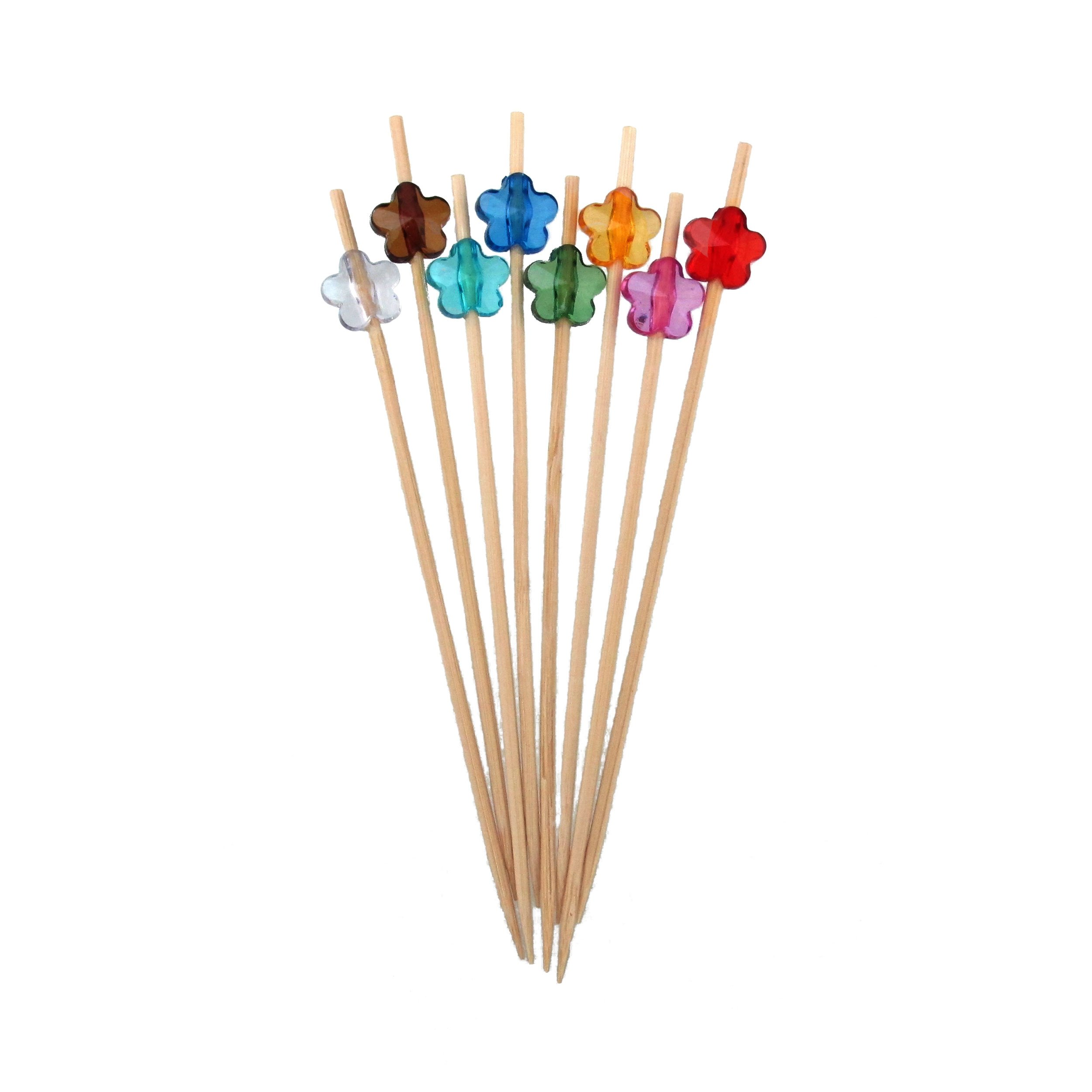 BambooMN 4.7'' Decorative Bamboo Arcylic Flower Cocktails Hors D'oeuvres Fruit Sandwich Skewers Picks for Catered Events, Holiday's, Restaurants or Buffet Party Supplies, 200 Pieces