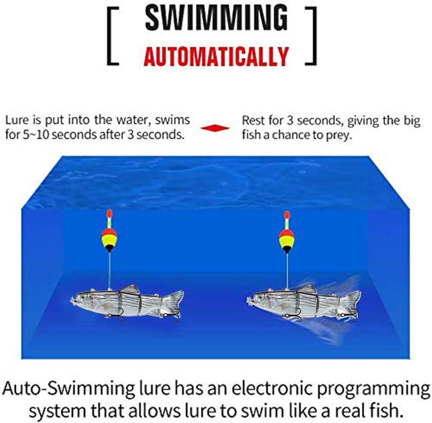 ods lure Robotic Schwimmk/öder USB wiederaufladbar Fischk/öder mit LED Licht Elektrischer Angelk/öder mit 4 Gelenke