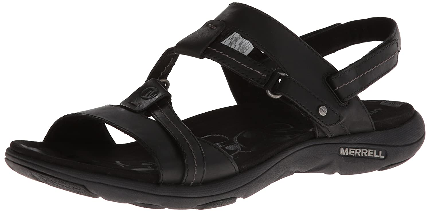 Amazon.com | Merrell Women's Swivel Leather Sandal, Black, 5 M US | Sport  Sandals & Slides