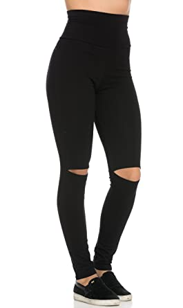 Knee Slit Super High Waisted Leggings in Black (Plus Sizes ...