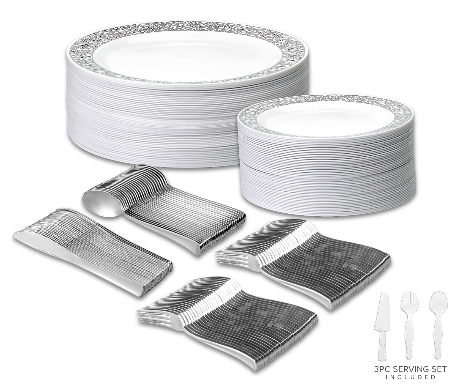 Your Gatherings - 606pc/100 Guest Silver Premium Disposable Wedding Dinnerware Set | 100 Dinner Plates, 100 Dessert Plates, 200 Forks, 100 Spoons, 100 Knives, (100 Guest Set, Silver) by Your Gatherings (Image #1)