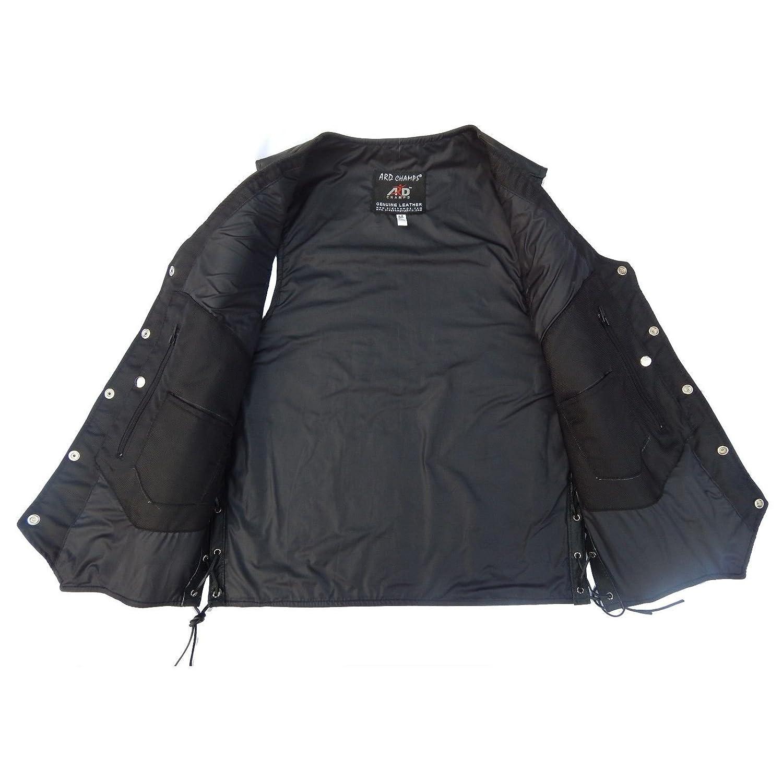 CHEST 60 6XL 4Fit Mens Black Genuine Leather 10 Pockets Motorcycle Biker Vest S To 6XL