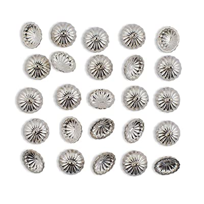 24 Silver Tone Ornament Caps - Egg Top Findings: Arts, Crafts & Sewing