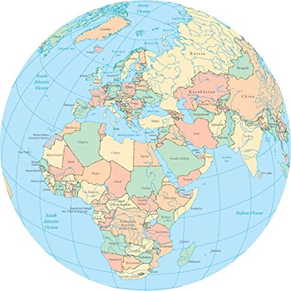 Amazon.com: Wallmonkeys WM314264 World Political Map Globe Africa