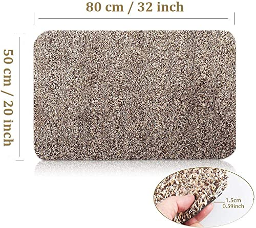 Indoor Outdoor Front Door Mat Inside Floor Kitchen Mat Magic Absorbent Dirt Mud Trapper for Dog Kid Large 20 x32 Microfiber Cotton Patio Entryway Rug Machine Washable Non Slip Drying Carpet