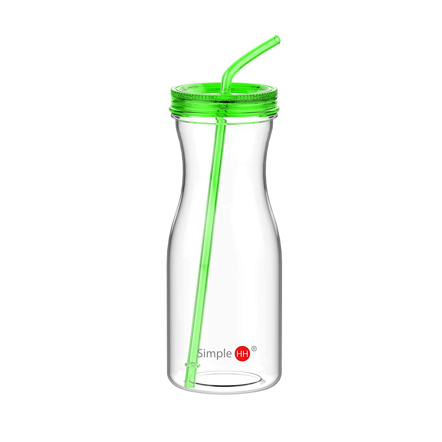 0d510c72f4fad7 Amazon.com   Simple HH BPA-Free Tritan Fitness Bottle Green Straw Bottle for  Office   Home Non-Toxic Eco-Friendly Water Bottle Outdoor Sports (Green) ...