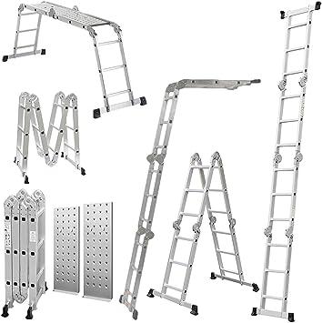 Speedwellstar - Escalera multifunción (3,7 metros desplegada, con 2 plataformas): Amazon.es: Bricolaje y herramientas