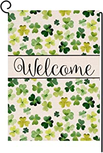 Welcome Spring St. Patrick's Day Small Garden Flag Vertical Double Sided Burlap Yard Outdoor Decor 12.5 x 18 Inches (131858)