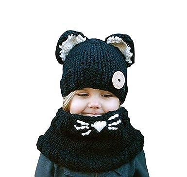 Bonnet Chaud Chapeau Cagoule Renard Bebe Enfant Echarpe Hiver Automne en Laine  Tricote (Noir) bf2b82cbec2