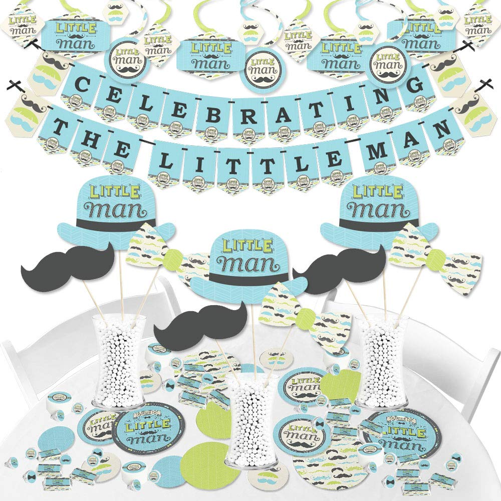 Dashing Little Man Mustache Party - Baby Shower or Birthday Party Decoration Kit - Fundle Bundle
