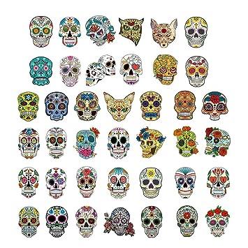 Phogary 40 Hojas Tatuajes de Calaveras para niños, Tatuaje de Cara ...