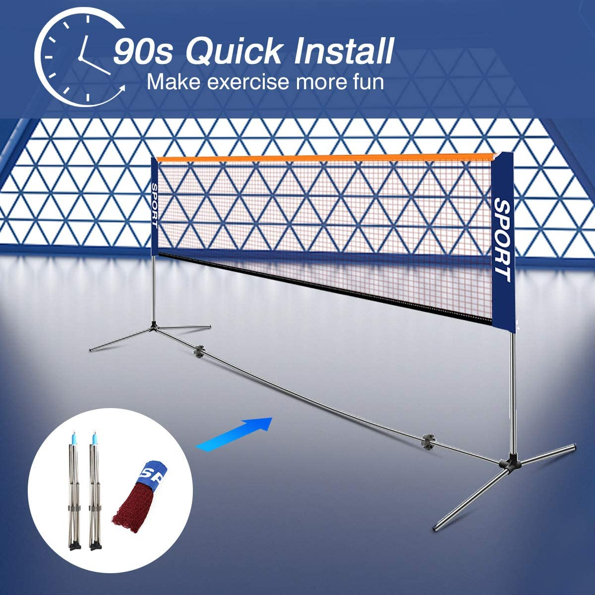 Ulalov Upgrade 17ft Badminton Net Set with Stainless Steel Poles, Portable Adjustable Height Badminton Volleyball Tennis Pickleball Net Set for Backyard Beach Driveway Outdoor Indoor Use : Sports & Outdoors