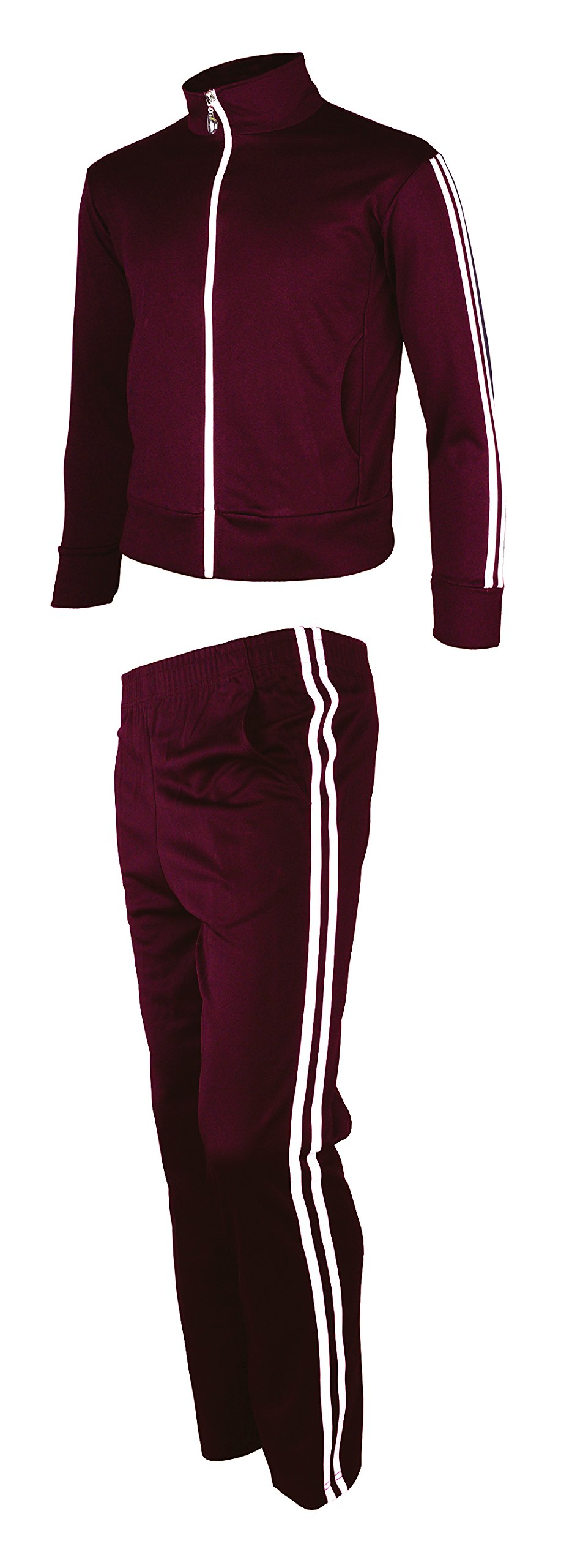 myglory77mall Men's Running Jogging Track Suit Jacket and Pants Warm up Pants Gym Training Wear M US(XL Asian Tag) Wine