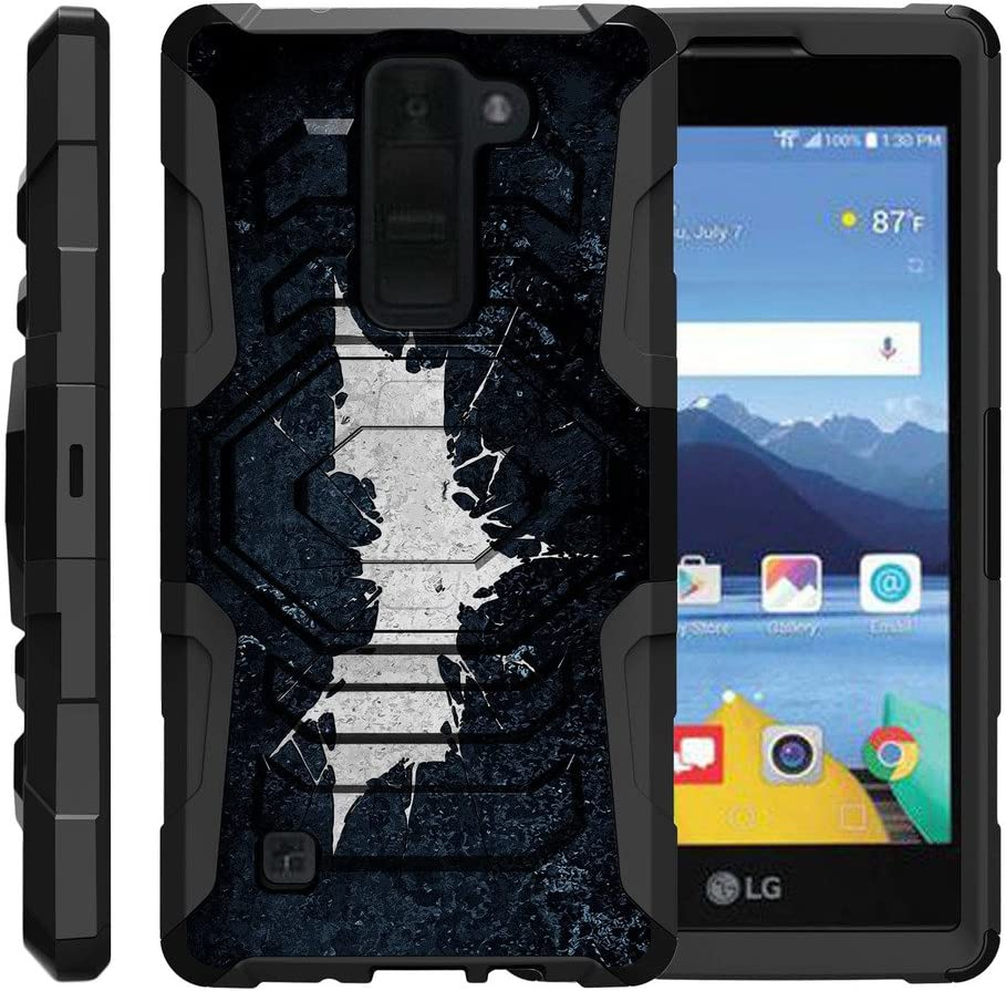 TurtleArmor | Compatible with LG K8V Case | LG K8 V Case | VS500 [Octo Guard] Dual Layer Case Holster Belt Clip Sturdy Kickstand Cover - Bat Signal