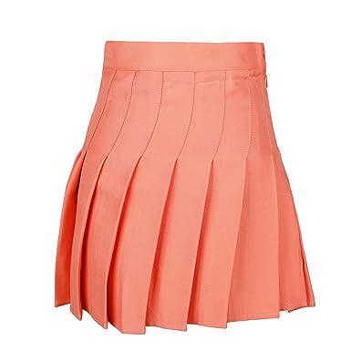 5b90fa9dd jntworld Womens Stylish Slim High Waist Solid Color Pleated Tennis Skirts,  M, Orange