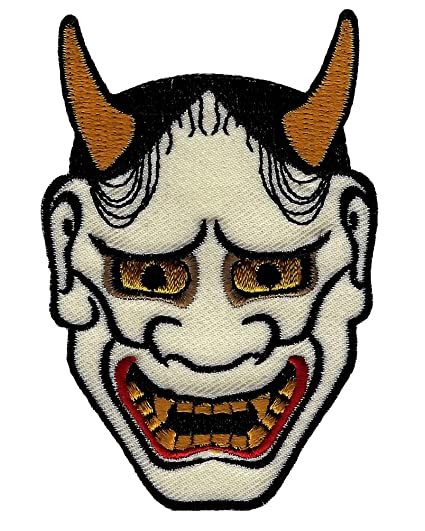 Japanese Hannya Mask Iron On Patch Evil Tattoo Embroidered Noh Kabuki Design