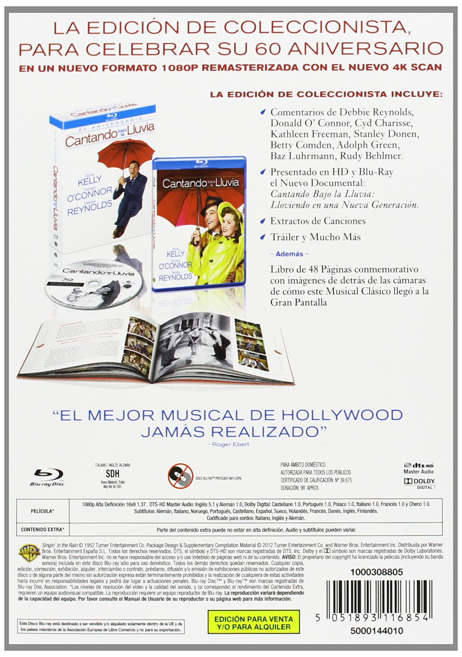 Amazon.com: Cantando Bajo La Lluvia, 60 Aniversario (Blu-Ray) (Import Movie) (European Format - Zone B2) (2012) Gene Kelly: Movies & TV