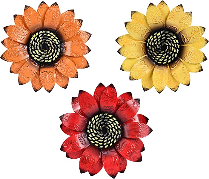 YEAHOME Metal Flower Wall Decor - 9 inch Wall Art Decorations Sunflower Decor Hanging for Bathroom, Bedroom, Living Room - Office/Home Decor Boho Art, Set of 3 Handmade Gift for Indoor or Outdoor
